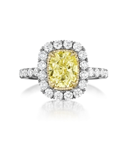 Pavé  halo ring featuring a 1.82Ct Signature Daussi Cushion™ fancy yellow diamond with 0.90Ct of accent diamonds