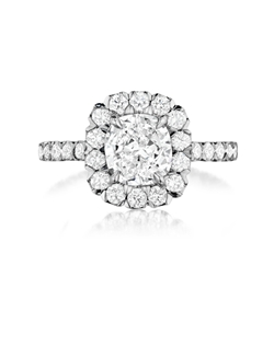 Pavé  halo ring featuring a 1.53Ct Signature Daussi Cushion™ cut diamond with 1.20Ct of accent diamonds
