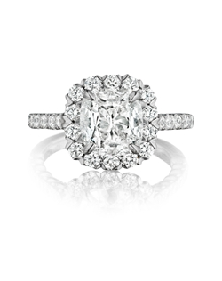 Pavé halo ring featuring a 2.23ct Signature Daussi Cushion™ cut diamond with 1.05ct of accent diamonds
