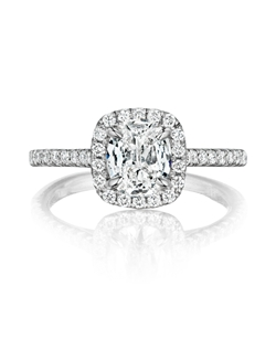 Pavé halo ring featuring a 1.04Ct. Signature Daussi Cushion™ diamond with 0.35Ct of accent diamonds