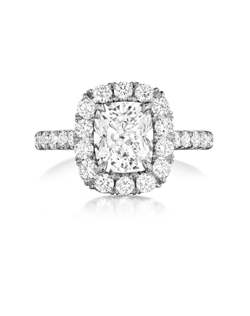 Pavé halo ring featuring a 2.04Ct. Signature Daussi Cushion™ cut diamond with 0.80Ct of accent diamonds