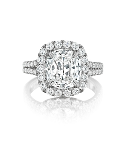 Pavé halo ring featuring a 3.13Ct. Signature Daussi Cushion™ cut diamond with 0.90Ct. of accent diamonds
