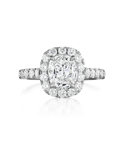 Pavé halo ring featuring a 1.26Ct Signature Daussi Cushion™ cut diamond with 1.15Ct of accent diamonds