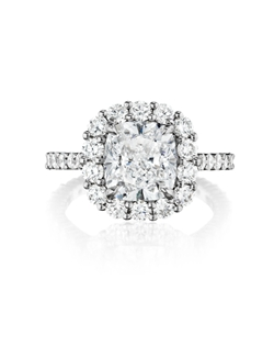 Pavé halo ring featuring a 2.00Ct Signature Daussi Cushion™ cut diamond with 1.70Ct of accent diamonds