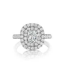 Pavé double halo ring featuring a 0.70Ct Signature Daussi Cushion™ cut diamond with 1.00-1.20Ct of accent diamonds