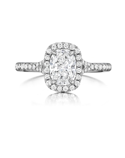 Pavé halo ring featuring a 1.01Ct Signature Daussi Cushion™ cut diamond with 0.29Ct of accent diamonds