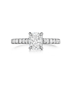 Pavé ring featuring a 1.00Ct Signature Daussi Cushion™ cut diamond with 0.40Ct of accent diamonds