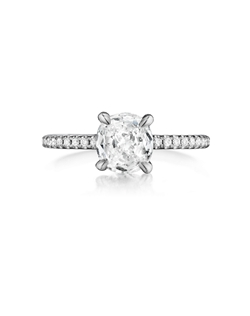 Pavé ring featuring a 1.06Ct Signature Daussi Cushion™ cut diamond