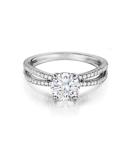 Split shank solitaire diamond ring handmade to accentuate any center diamond. Features 1.25Ct round brilliant diamond with 0.42Ct of accent diamonds