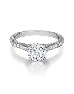 Three sided diamond ring handmade to accentuate any center diamond. Features a 1.25ct. round brialliant diamond