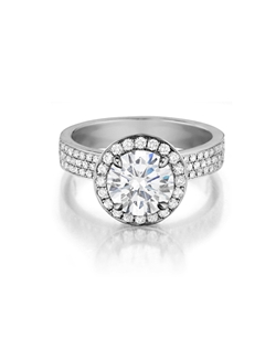 Pavé diamond ring with a tierd halo handmade to fit any center diamond. Featured with a 1.75Ct. Round brilliant diamond