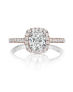 Pavé halo rose gold ring featuring a 1.04Ct. Signature Daussi Cushion™ diamond with 0.35Ct of accent diamonds