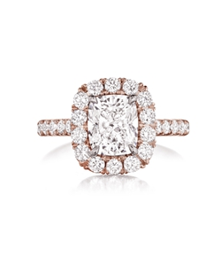 Pavé halo rose gold ring featuring a 2.04Ct. Signature Daussi Cushion™ cut diamond with 0.80Ct of accent diamonds