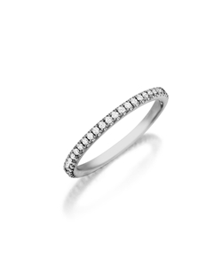 Pavé eternity diamond band featuring a single line of round brilliant diamonds. Available with diamonds half way around the band or eternity. 0.15-0.30Ct