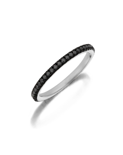 Pavé white gold eternity diamond band featuring a single line of round brilliant natural black diamonds. Available with diamonds half way around the band or eternity. 0.15-0.30Ct.