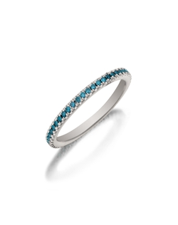 Pavé white gold enternity band featuring a single line of round brilliant irridated blue diamonds. Available with diamonds half way around the band or eternity. 0.15-0.30Ct