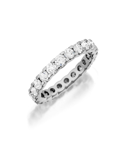 White gold eternity band featuring a single line of round brilliant pavé set diamonds. Available in eternity only. 1.90Ct