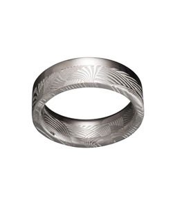 Stainless Steel Damascus, 18k Palladium White Gold