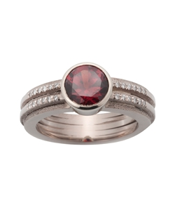 18k Palladium White Gold, .25 TCW Diamonds, Garnet Center Stone