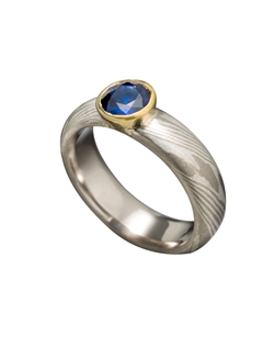 14k Palladium White Gold and Silver Mokume Gane, 18k Yellow Gold, Sapphire