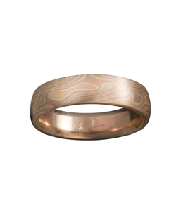 18k Yellow Gold, 14k Red Gold and Silver Mokume Gane