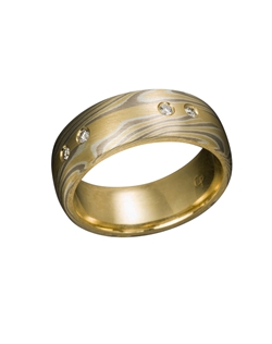 18k Yellow Gold, 14k Palladium White Gold and Silver Mokume Gane, 18k Yellow Gold Inlay, .20 TCW Diamonds, 5 Channel Set Diamonds, Gray, White and Yellow