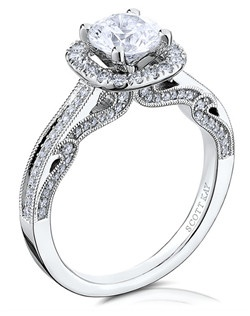 The elegant Silhouette engagement ring speaks of beauty and class within its handcrafted design. This Scott Kay 14K white gold ring has a 0.27ctw and a 1ct round center stone diamond. Also available in platinum, 18K white or yellow gold, 14K yellow gold, and palladium. 
