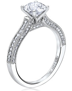Through handcrafted design and sculpting through feeling, the Radiance engagement ring siginifies the brilliance of simplistic elegance. This beautiful 14K white gold Scott Kay ring has a 0.31ctw and a 1ct round center stone diamond. Also available in platinum, 18K white or yellow gold, 14K yellow gold, and palladium.