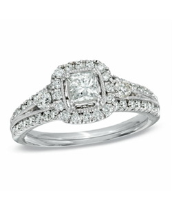 This amazing 1-1/4 ct. t.w. diamond vintage-inspired engagement ring has been given a new twist! Fashioned in 18K white gold, this stunning engagement ring showcases a 1/2 ct. princess-cut Celebration 102® diamond center stone framed with an array of smaller round accent diamonds, which also adorn the ring's shank. Milgrain detailing surrounds the center stone, adding depth and dimension. Every Celebration 102® diamond received excellent rankings for superior cut and color. Insuring authenticity and protection, each diamond is laser-inscribed with a certification number inside of the band. This ring comes with a certificate that includes a photo and a description of the diamond, which guarantees quality and can be used for insurance purposes.