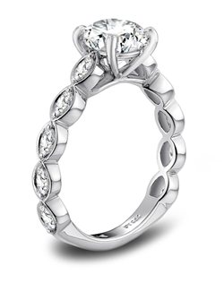 Designs by Vatché platinum and diamond engagement ring. JCK 2013 Platinum Innovation Awards Winner.