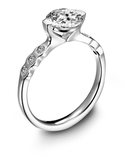"MaeVona platinum and diamond ""Cava"" semi-mount engagement ring with a 2-prong setting and flush-set diamonds along the shank."