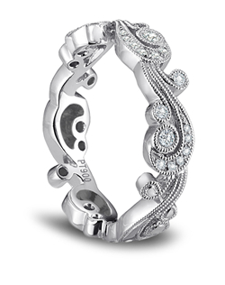 """Kirk Kara platinum handcrafted wedding band from the Angelique collection crafted with 0.21 carats of diamonds."""