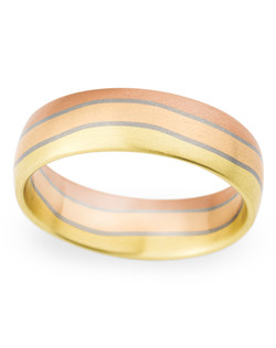 6.5MM BAND WITH MIXED GOLD, COMFORT FIT