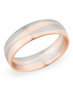 6.5MM BAND with white and red gold lines , COMFORT FIT
