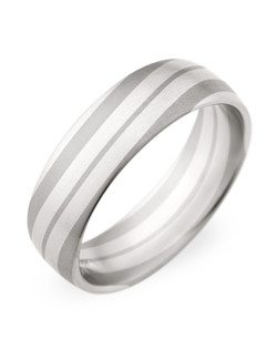 6.5MM BAND , TWO TONE GREY AND WHITE , COMFORT FIT