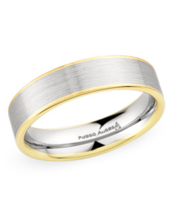 6MM BAND WITH FLAT PROFILE , TWO TONE YELLOW-WHITE