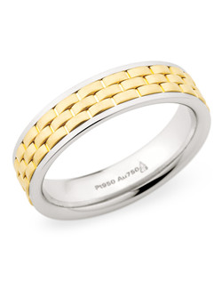 5.5MM BAND WITH WEAVED 18K YELLOW GOLD CENTER