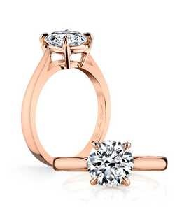 """""""Handcrafted, custom made Jean Dousset signature design.  Shown with Round cut diamond in Rose Gold.   Includes your choice of 'signature stone' inside your band. Exclusively available at Jean Dousset"""""""