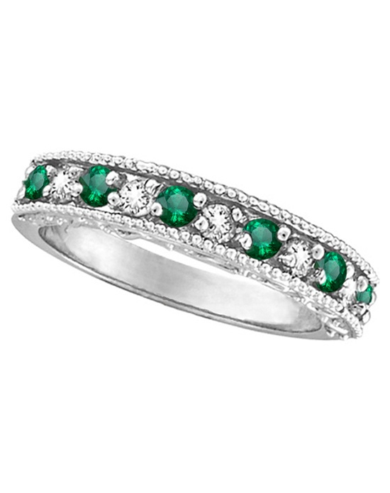 Six vibrant green emeralds and five brilliant-cut round diamonds are alternating in this elegant designer 14 karat white gold gemstone band. Milgrain edges and infinity-carved sides make for a stunning finish.