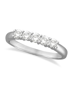 An elegant five-stone, round-cut diamond pattern is prong-mounted on a 14 karat white gold band. Also available in 0.25-1.50ct weights.  Wear it as an anniversary band, as a wedding ring, or as a right hand ring. This style is available in other metals. This items can be customized to suit your preferences. This ring is also available in 14k yellow & rose gold (pink), and palladium.