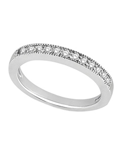 This stunning half-eternity diamond wedding band features fourteen brilliant cut round diamonds beautifully set in a pave setting.