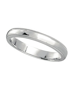 Perfect for both men and women, this tasteful 3mm hypoallergenic palladium wedding band features a fine milgrain on both edges of the ring.