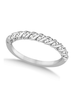 This beautiful modern wedding band features 22 sparkling round diamonds (approximate) of GH color and VS2-SI1 clarity in a hypoallergenic palladium setting. A unique ribbon pattern separating the diamonds on the band lends to a refined appearance.  Wear it as a wedding band, as an anniversary ring, or as a right hand fashion ring. This ring is available in a variety of metals. A matching engagement ring is also available (sold separately).