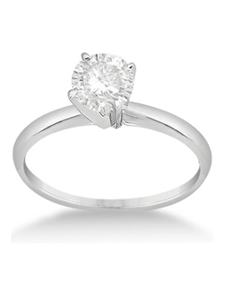 Showcase your choice of round diamond in this gorgeous, classic solitaire engagement ring for women. The band and 4-prong mount are crafted from hypoallergenic palladium.