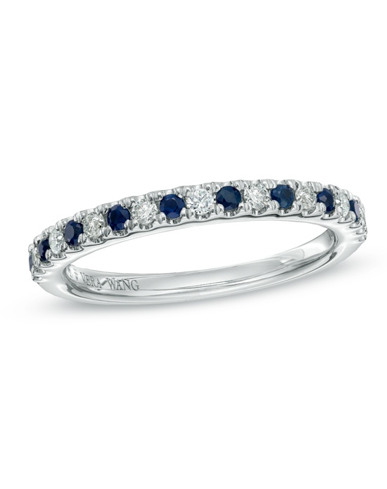 On your wedding day, honor the woman you love with a ring as significant in meaning as it is beautiful. From the Vera Wang LOVE Collection, this 14K white gold wedding band features alternating round diamonds and brilliant blue sapphires, the traditional gemstone of faithfulness and unending love. An amazing gift of love and commitment, this ring captivates with 1/8 ct. t.w. of diamonds and a polished shine. The Vera Wang LOVE Collection is available exclusively at Zales.