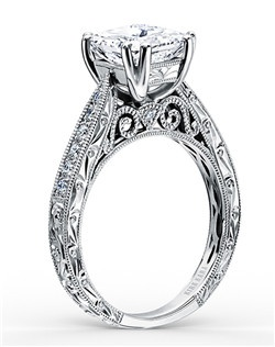 Hand-engraved engagement ring from the Kirk Kara Stella collection crafted with 0.18 carats of diamonds (center stone not included).  Available in platinum or 18K white, 18K yellow or 18K rose gold. All Kirk Kara designs are handcrafted and tailored to accommodate your customization requests.