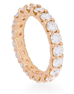 U-Prong diamond eternity band in rose gold with 2.5CTW fo diamonds.