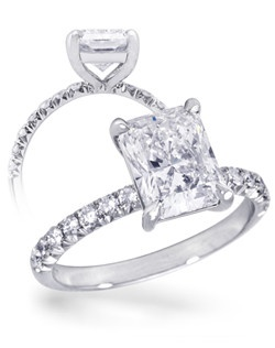 This platinum ring features a 2.5 carat Radiant-cut diamond with 0.35CTW of diamonds in the shank.
