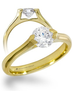This yellow gold solitaire engagment ring features a 0.75carat round diamond.