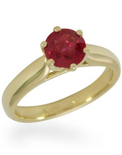 This simple yet sophisticated solitaire setting perfectly showcases a 1 carat ruby.